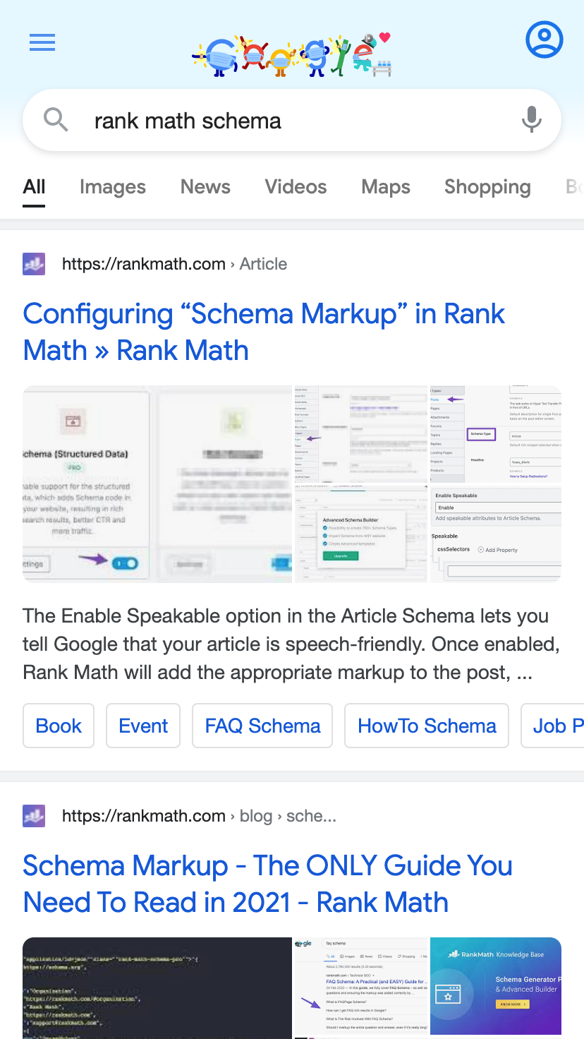 Rank Math Article Schema in search results