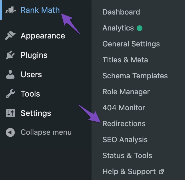 Navigate to Redirections Manager in Rank Math