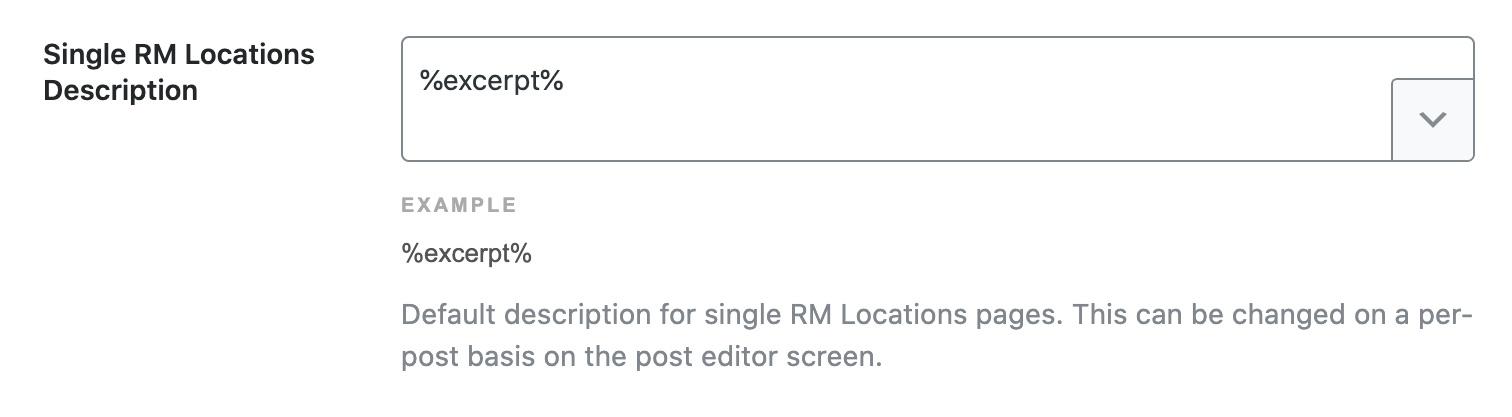 Single RM Locations description