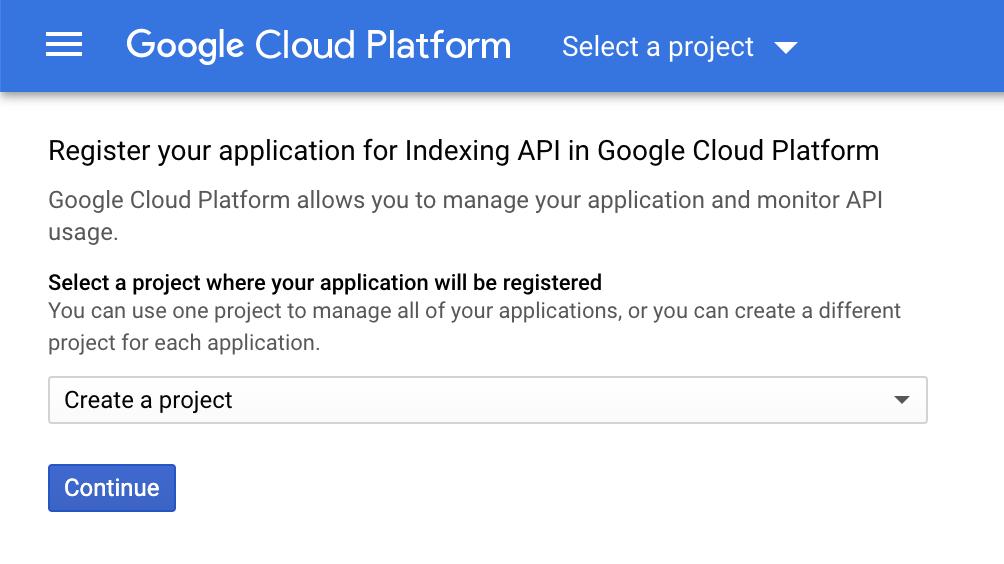 Register application for Indexing API