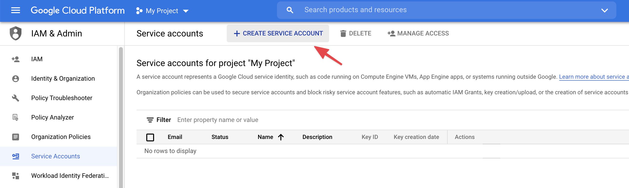 Click Create Service Account
