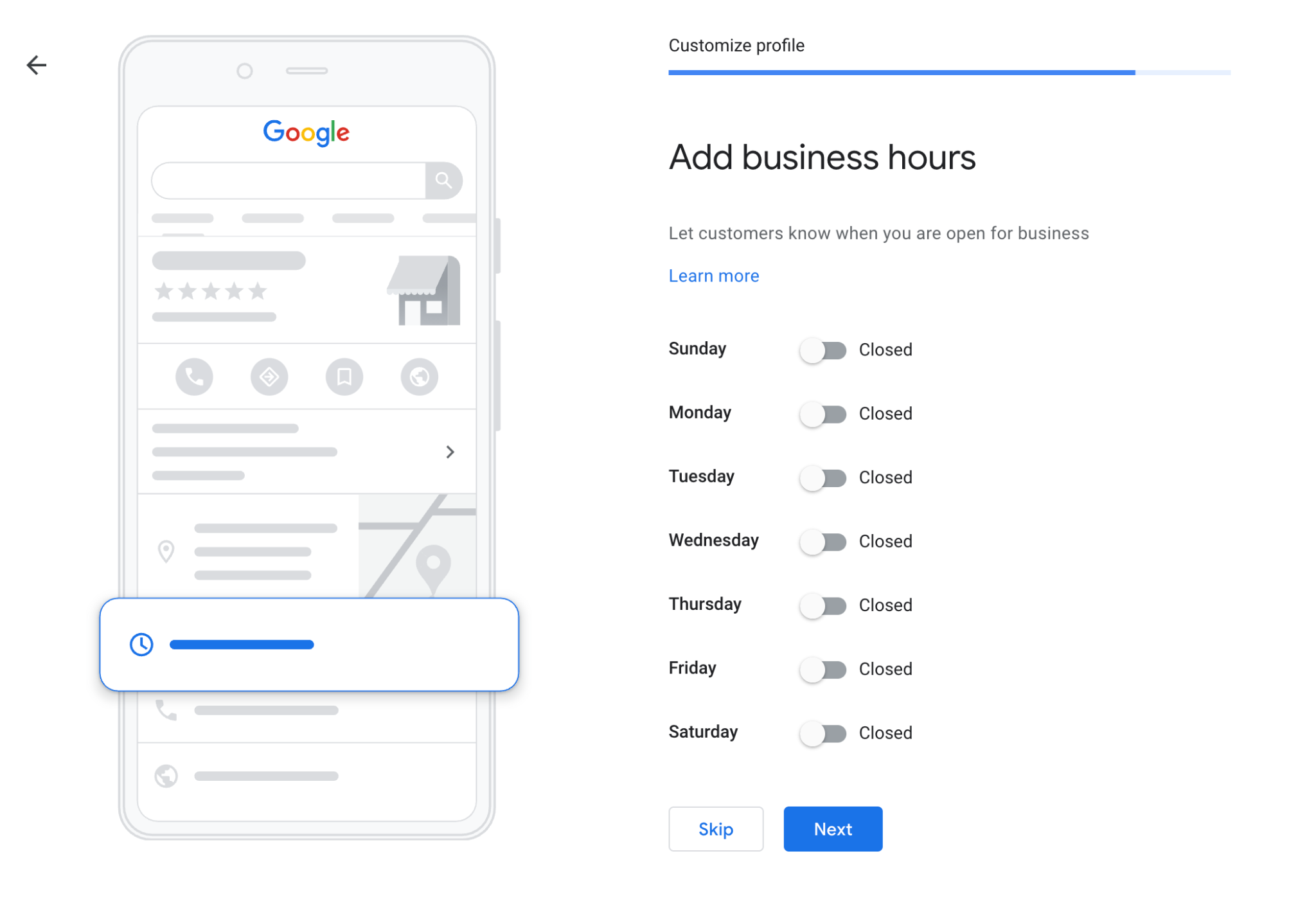 Google My Business Business Hours