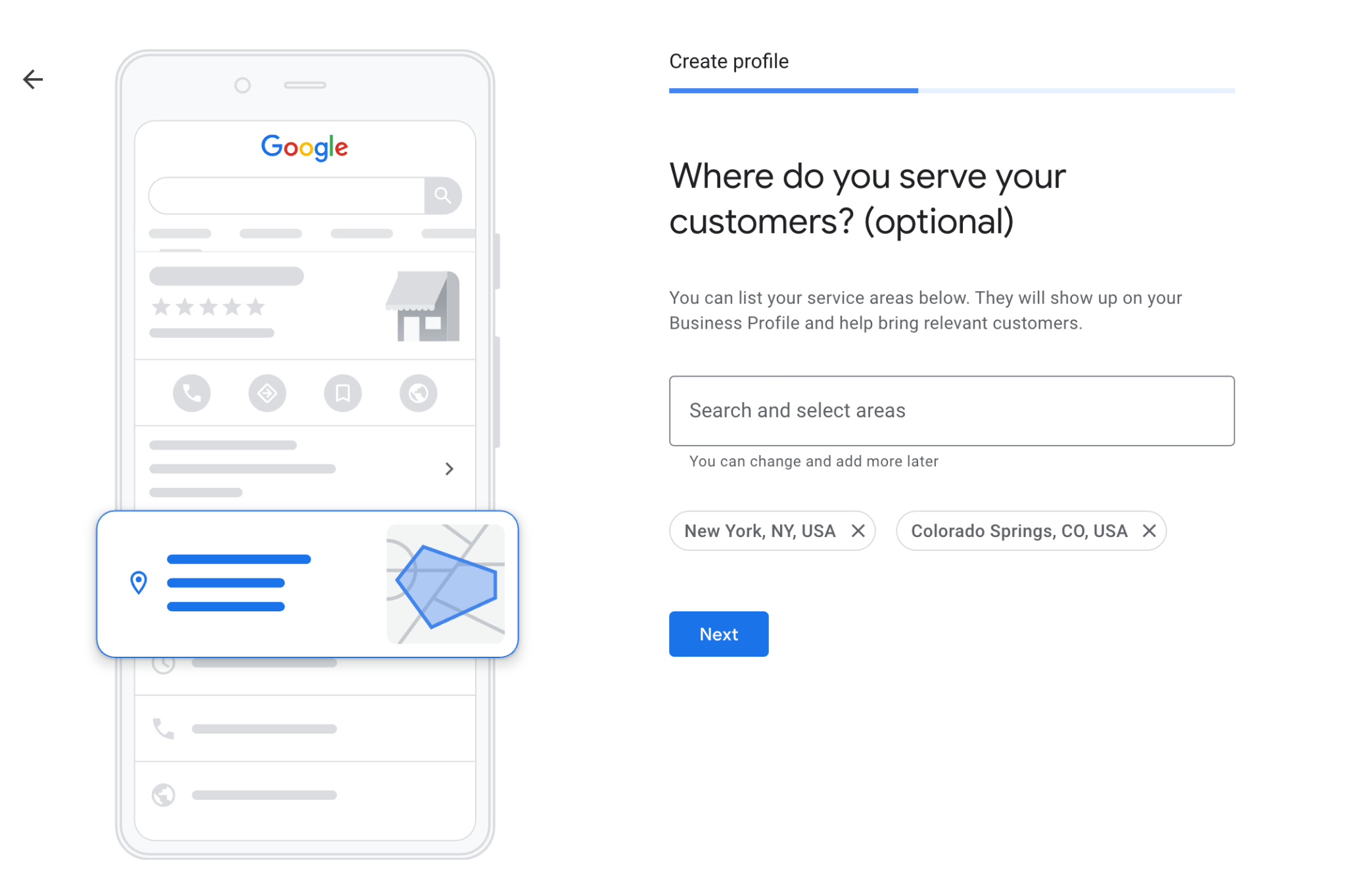 Select Service Areas Google My Business