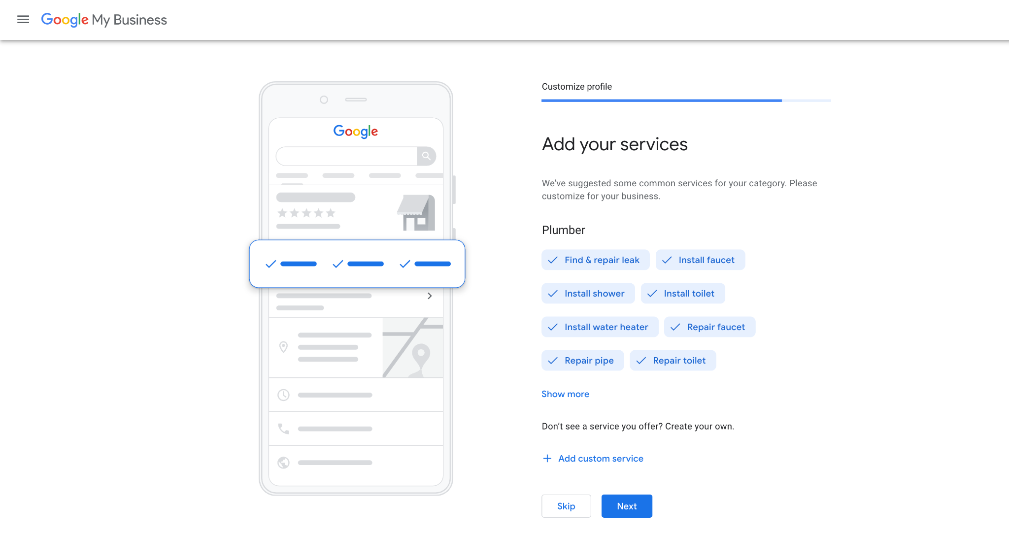 Services and Categories Google My Business
