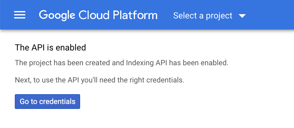 Indexing API is enabled