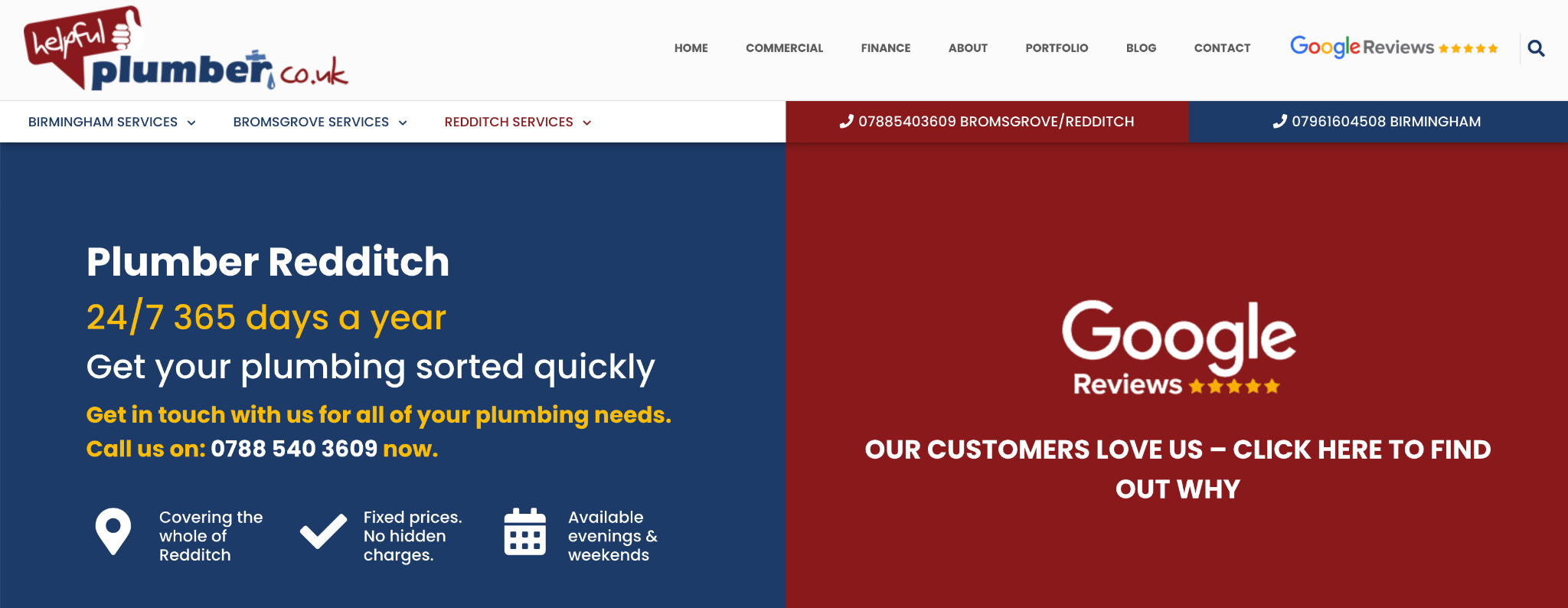 Redditch Local Landing Page Example