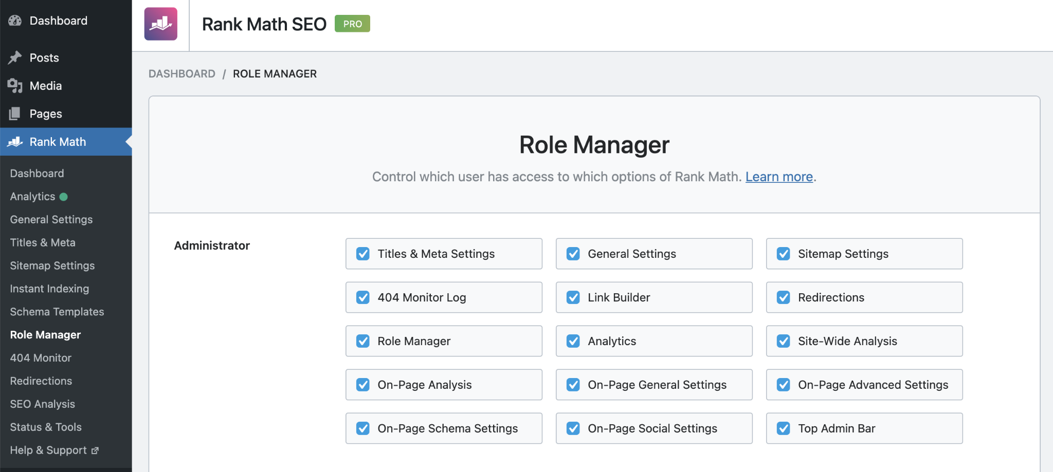 Rank Math Role Manager