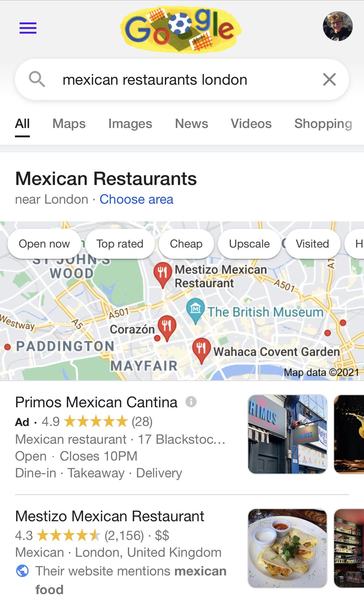 Mexican Restaurants Local Search Example