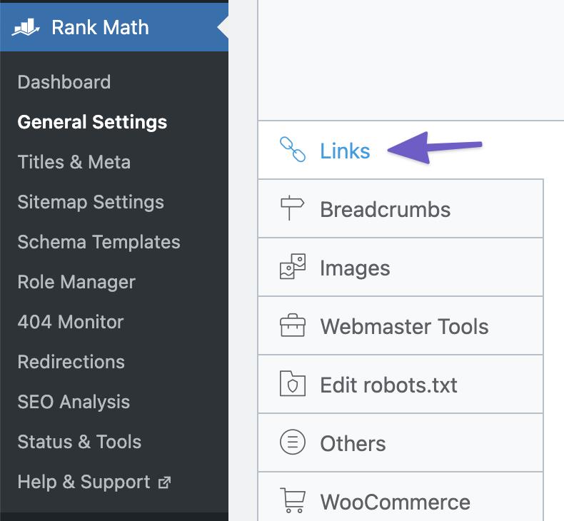 Rank Math Link Settings
