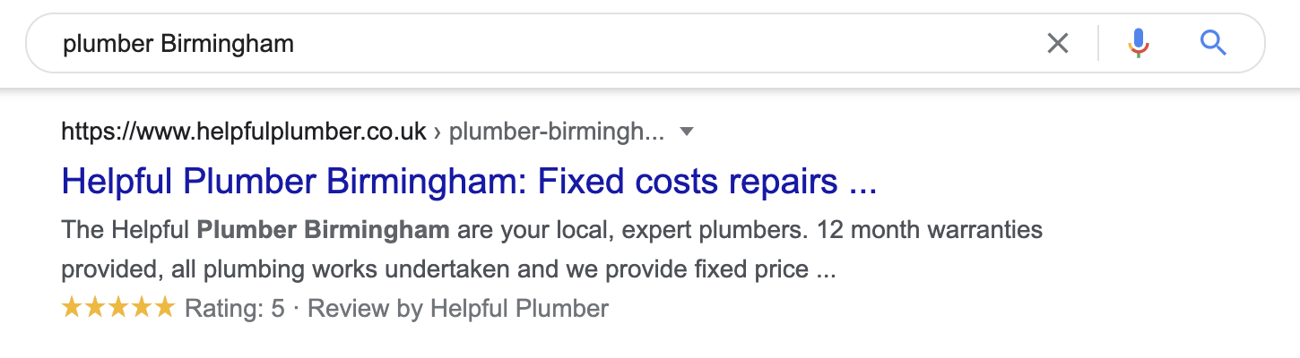 Plumber Birmingham Local Search Results