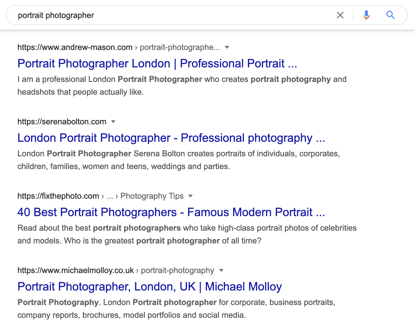 Portrait Photographer Localized Results Example