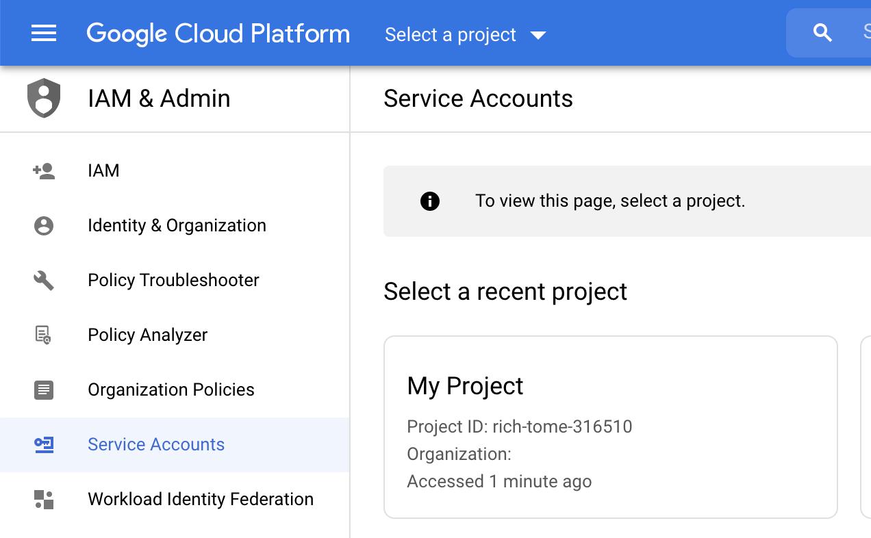 Open Service accounts in Google Cloud Platform