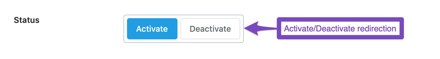 Activate and deactivate redirection