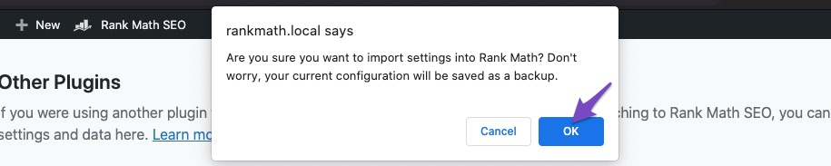 All In One SEO Pack import confirmation prompt
