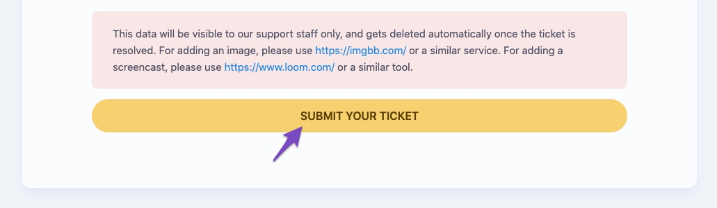 Submit your ticket