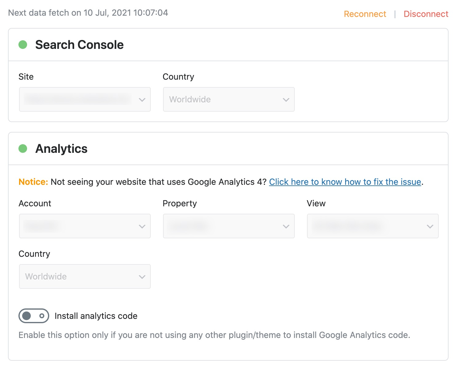 Search Console and Analytics configuration
