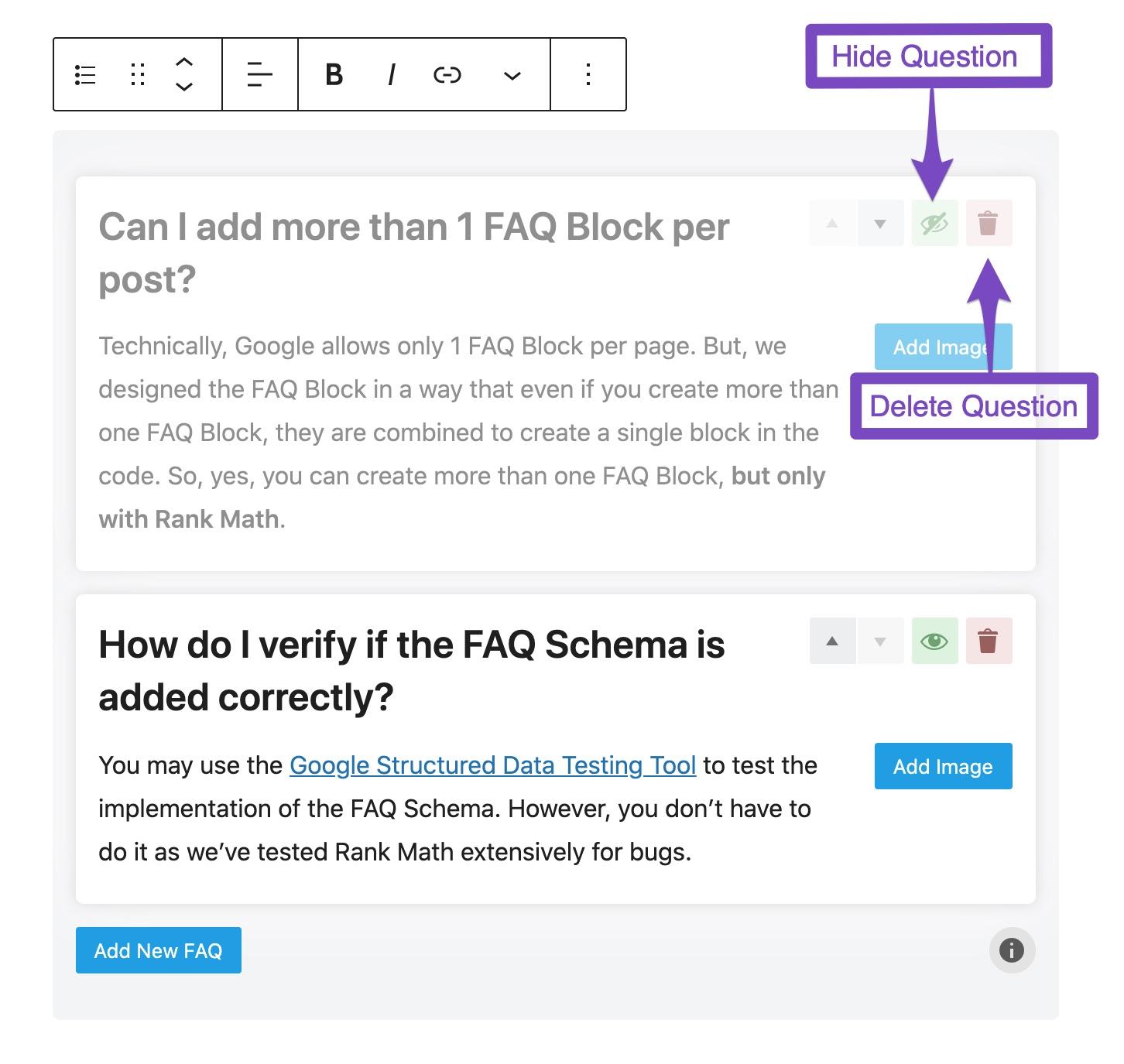 Delete or hide question in FAQ block