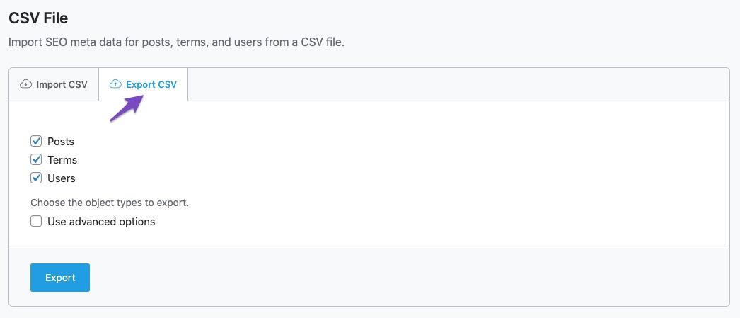Click the Export tab