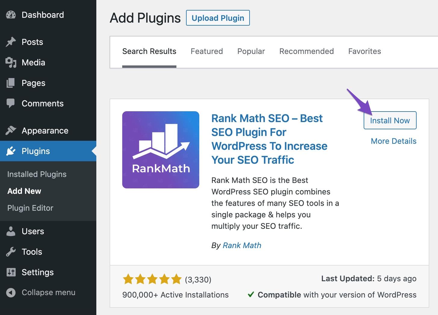 Install Rank Math plugin