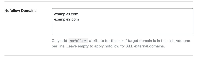 Adding domains under Nofollow Domains