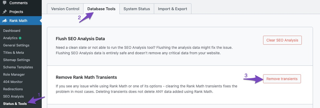 Remove transients in Rank Math