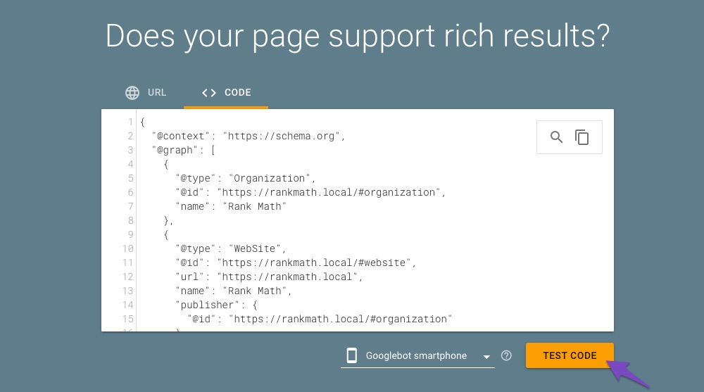 Testing code with Google Rich Results Testing tool