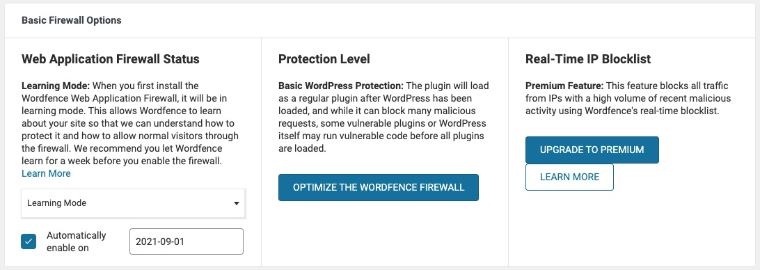 Automatically enable on Wordfence protection
