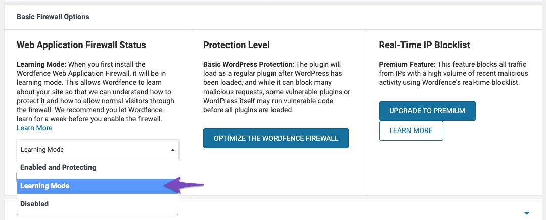 Choose learning mode in Wordfence