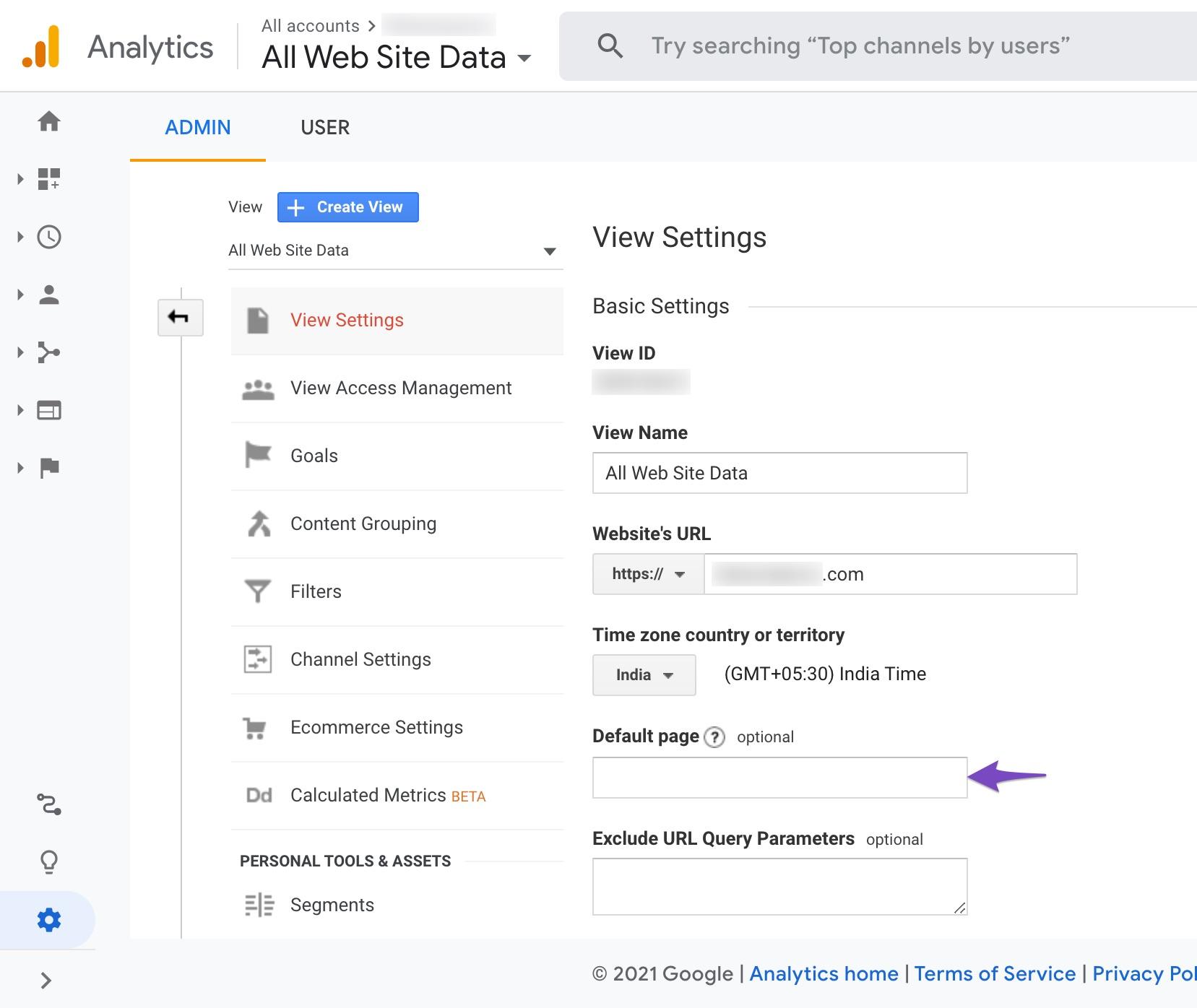 Default page in Google Analytics