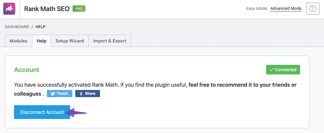 Disconnect Rank Math account