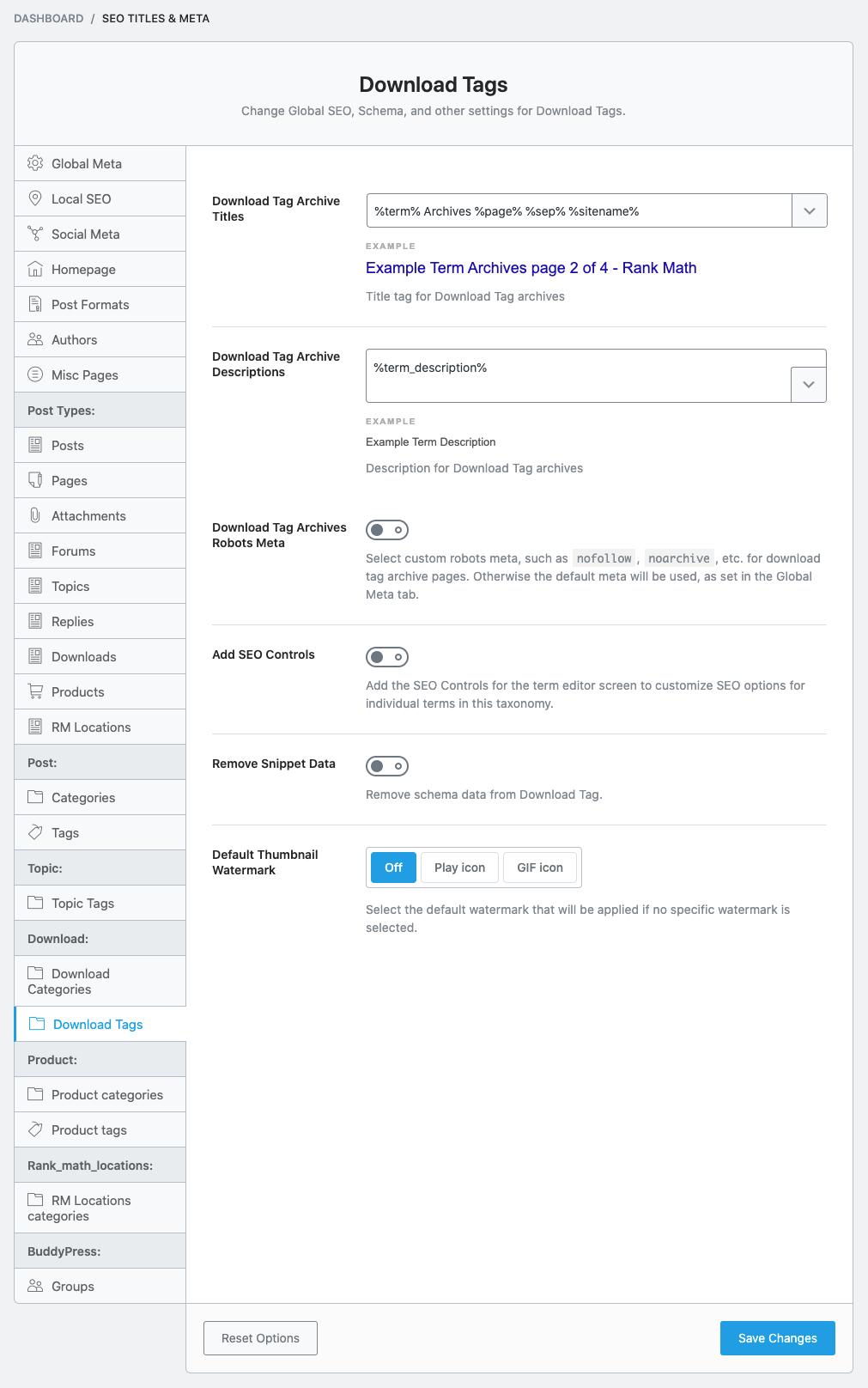 Download Tag Titles & Meta settings