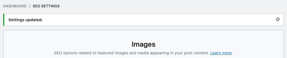 Image SEO settings updated notice