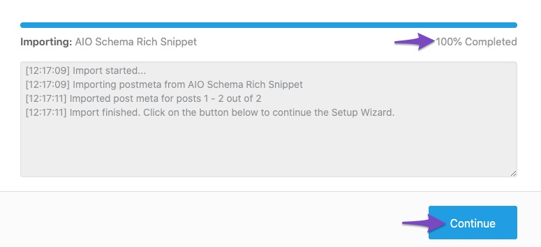 Importing from All In One Schema Rich Snippet plugin complete