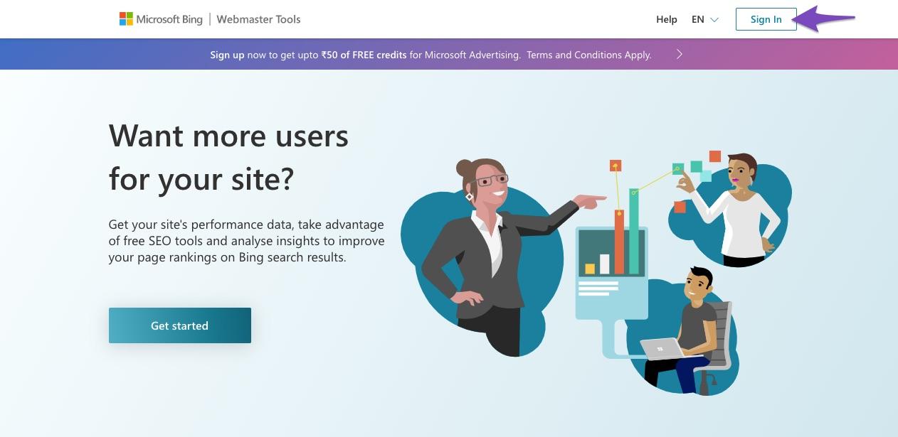 Login to Bing Webmaster Tools
