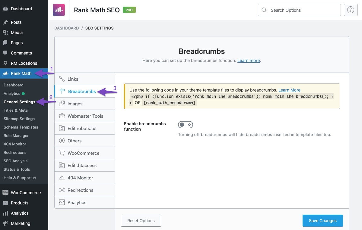 Open Breadcrumb settings in Rank Math