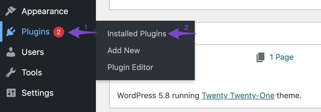Open Installed Plugins in WordPress