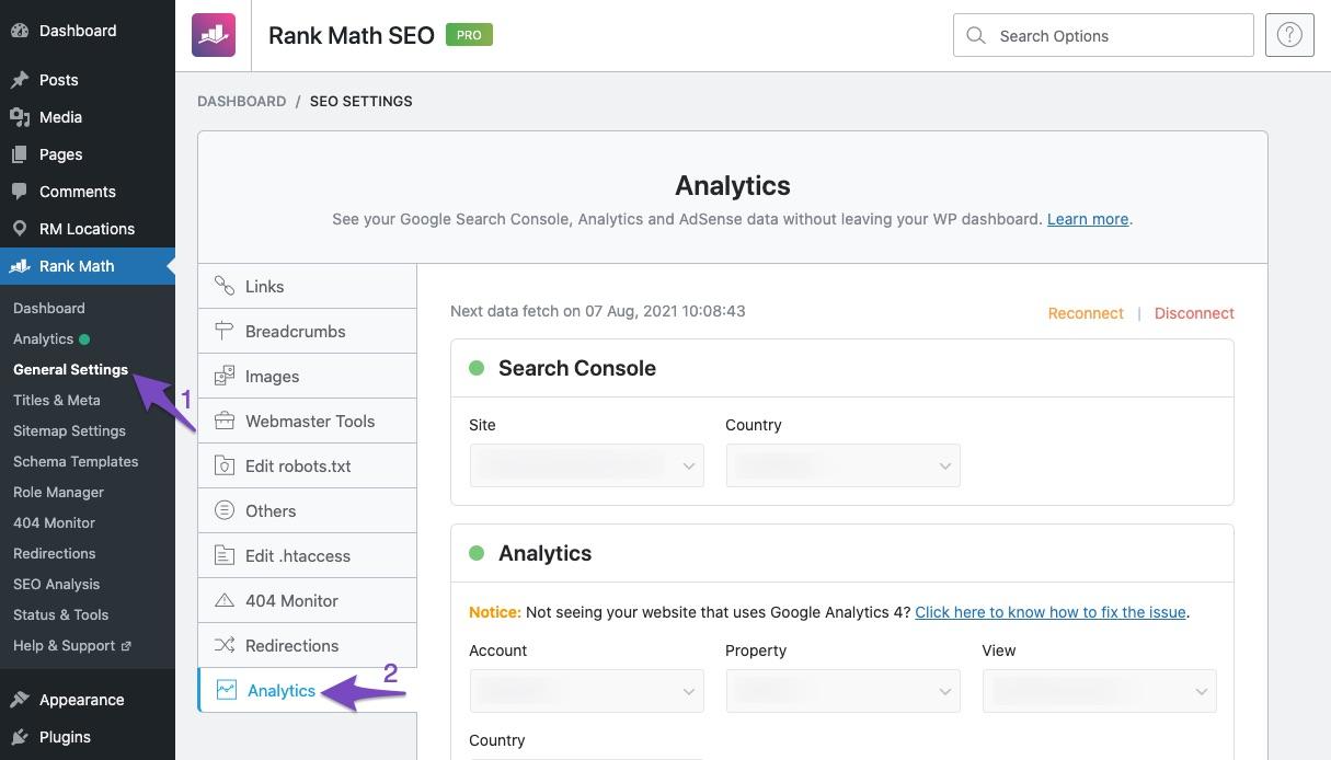 Rank Math Analytics settings
