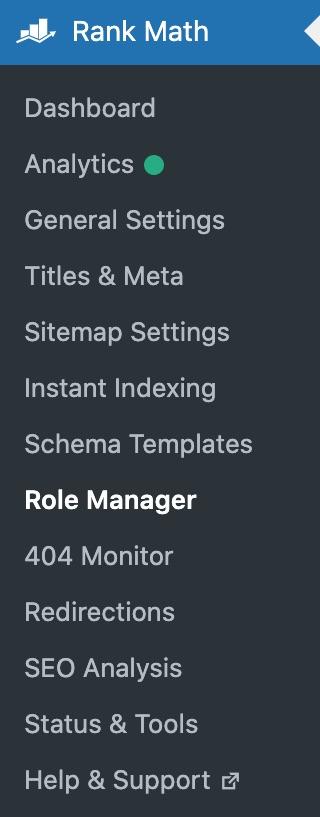 Rank Math menu options