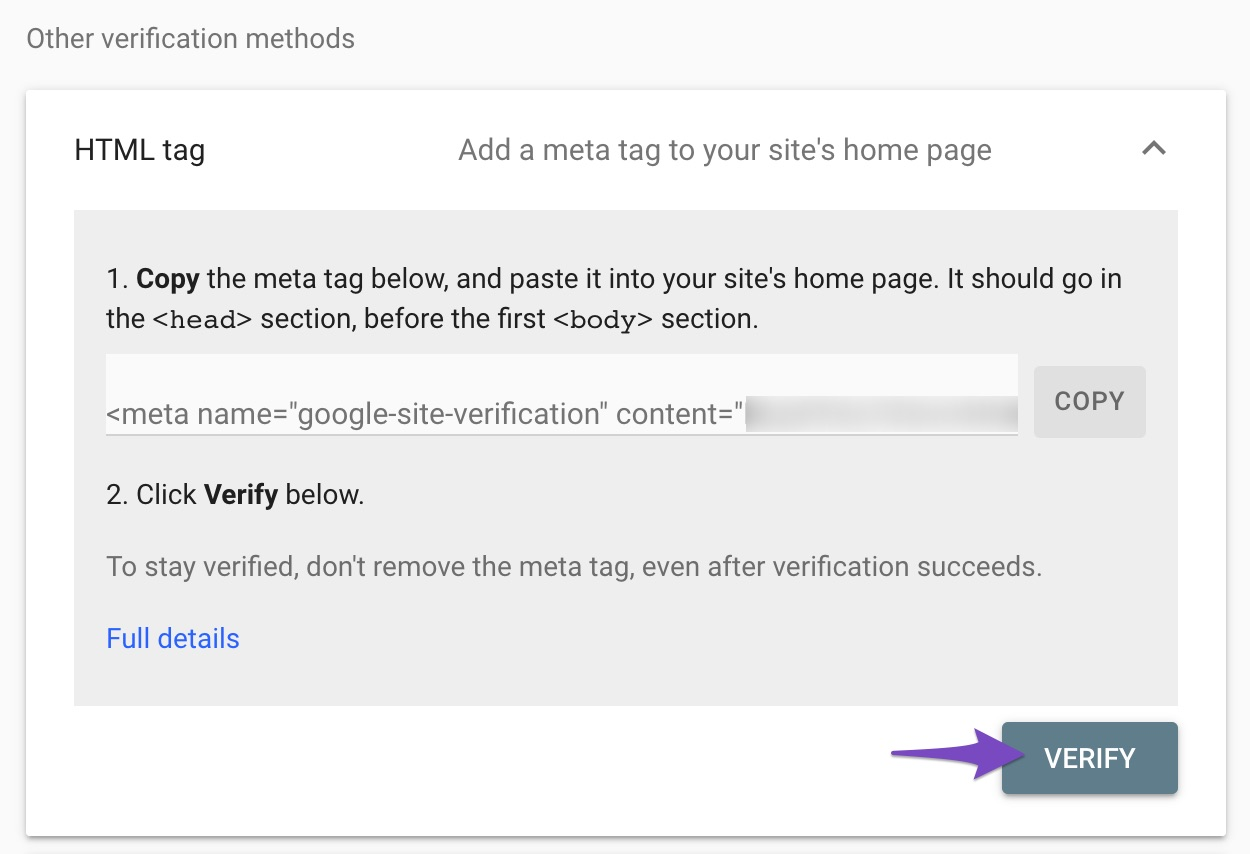 Verify property in Google Search Console