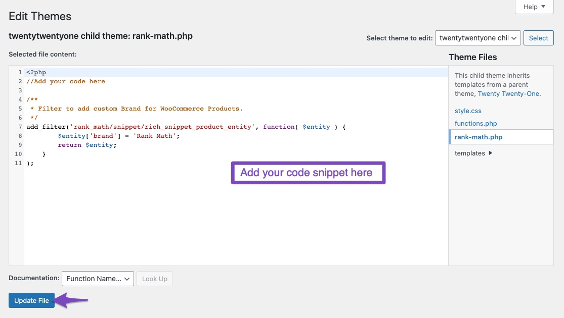 Add code snippet for custom brand name