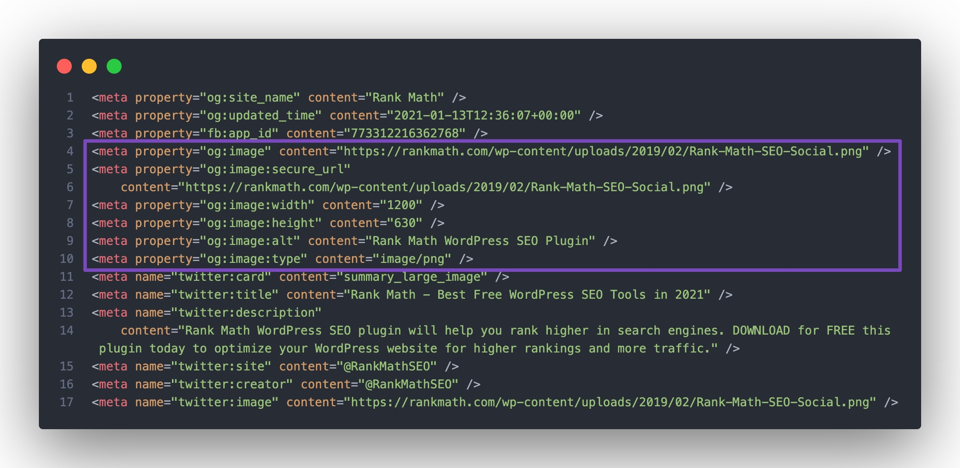 Check OpenGraph Image tags in source code