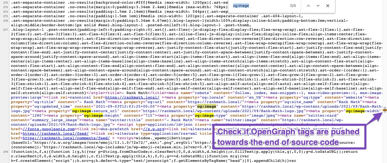 Check if OpenGraph tags are pushed towards the end of source code