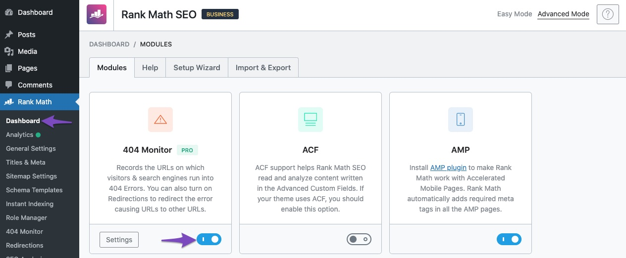 Enable 404 Monitor module in Rank Math Dashboard