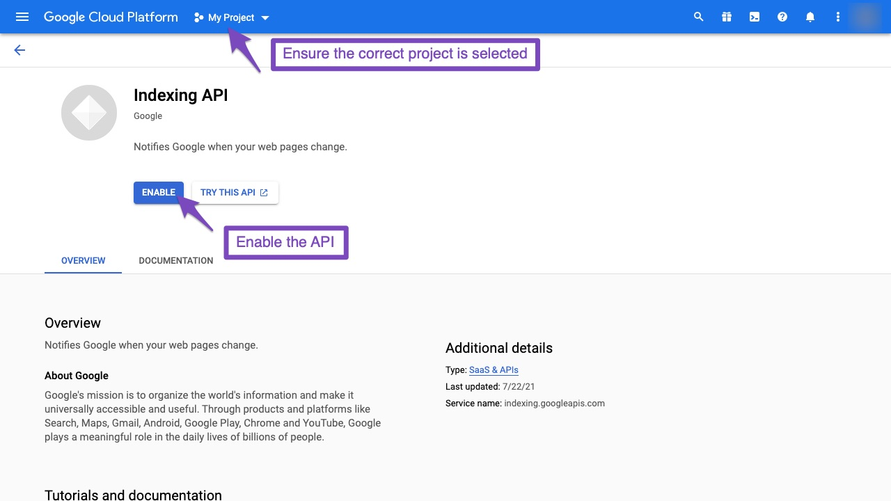 Enable the Indexing API in Google Cloud Platform