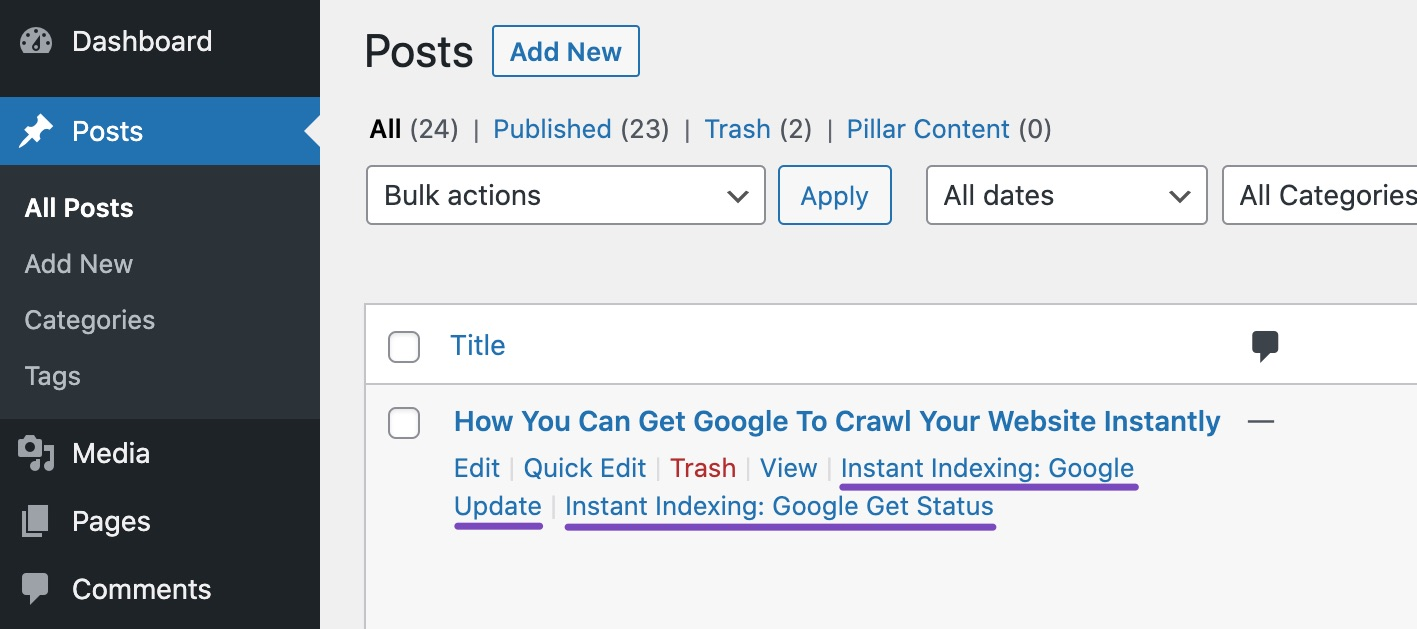Instant Indexing update and get status in posts screen