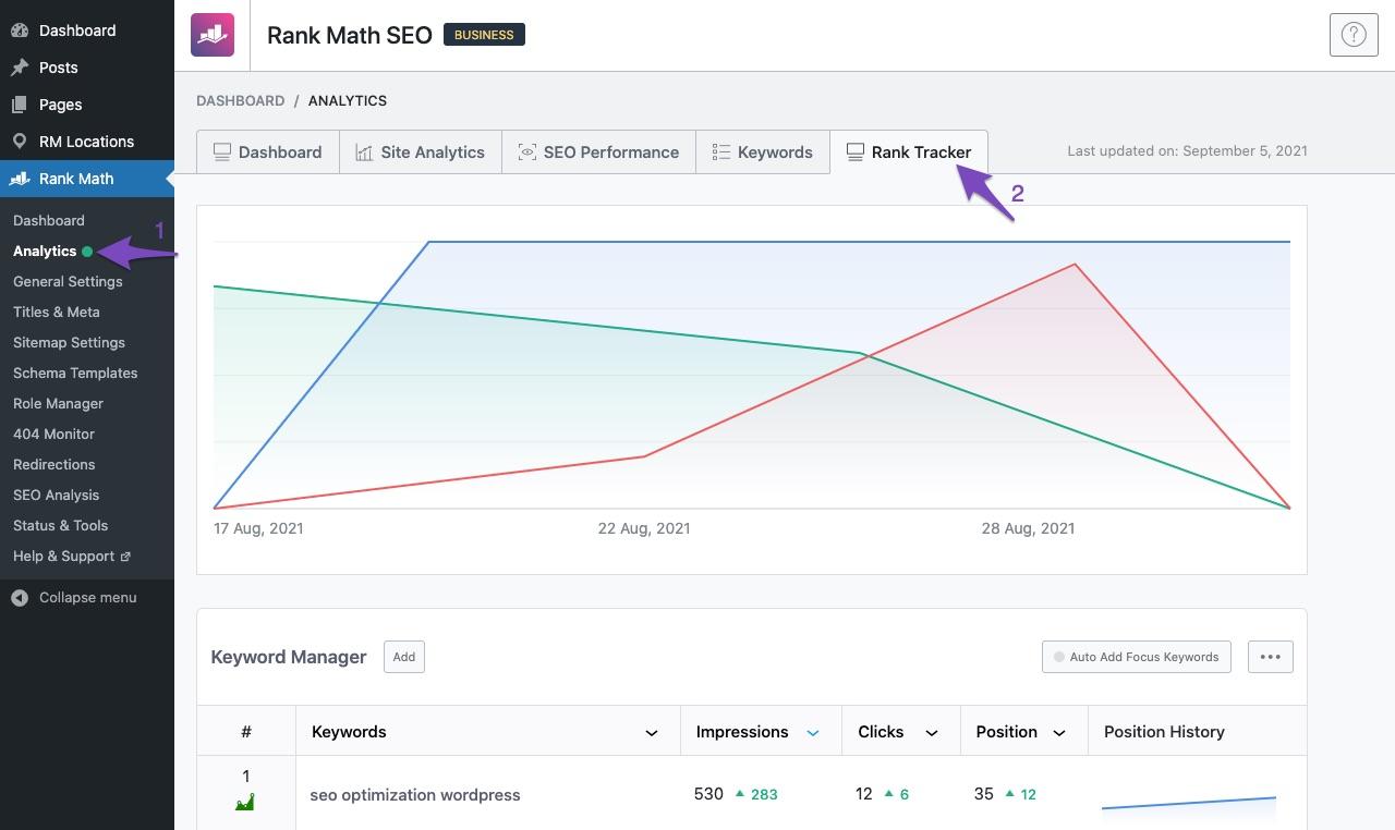 Open Rank Tracker in Rank Math Analytics