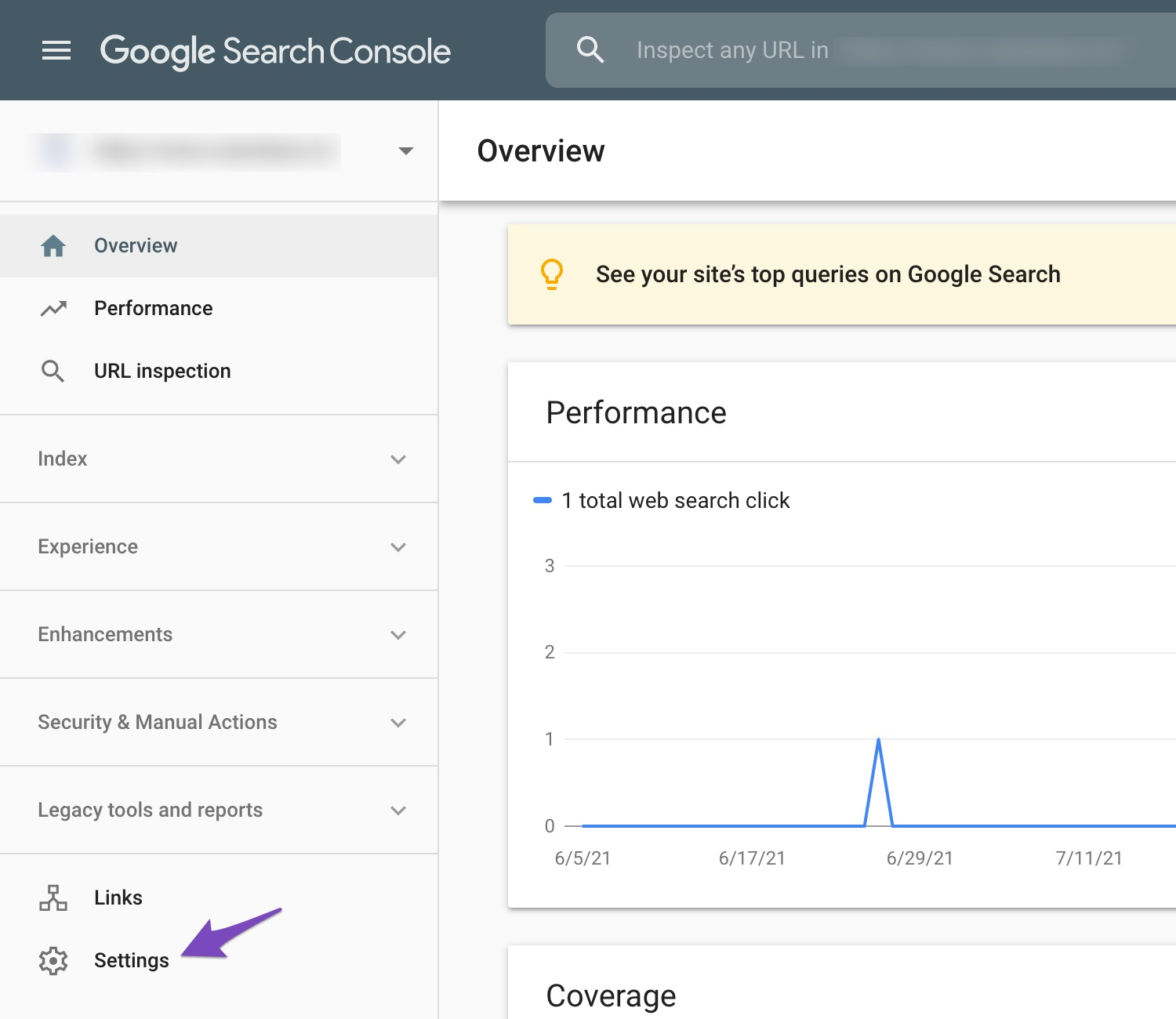 Open settings in Google Search Console