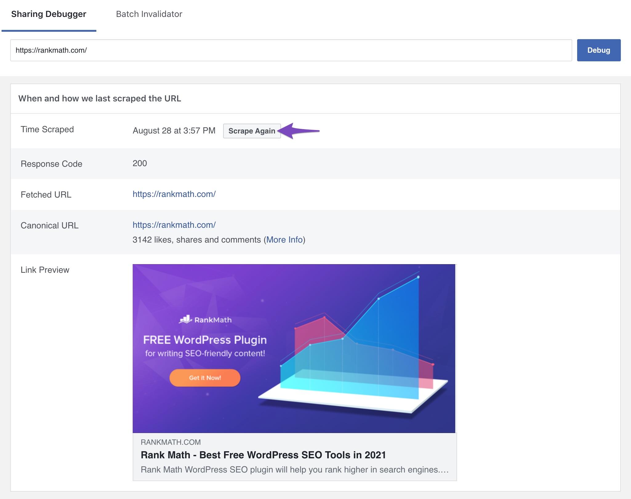 Scrape again in Facebook sharing debugger