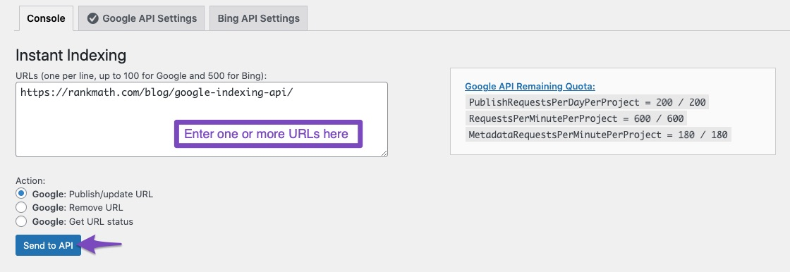 Send URLs to API for Instant Indexing