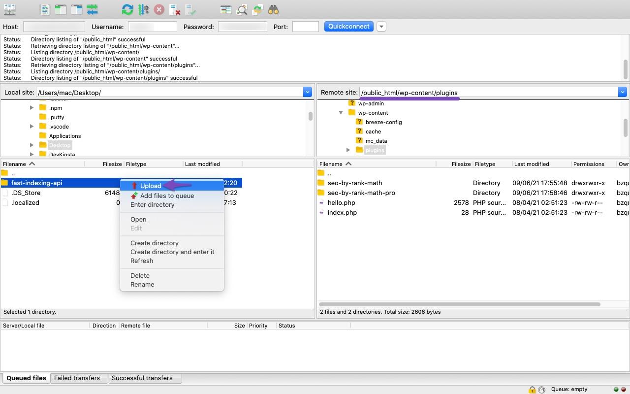 Upload Fast Indexing API to WordPress Plugins folder
